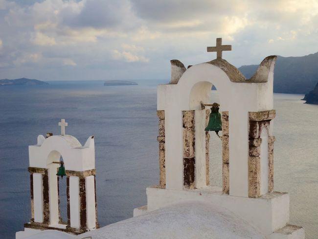 Aegean Sea Church Bells Cloud - Sky Greece Greek Island Church Greek Islands Height Nature Orthodox Church Santorini Sea Sky Travel Destinations Water The Architect - 2016 EyeEm Awards