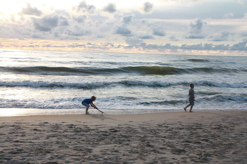 Baltic Sea Beach Beauty In Nature Children Only Klaipeda Landscape My Year My View Pease Sea Sky Sky Sea Sand Togetherness Twins TWINS ♥ Two People Wave Doni