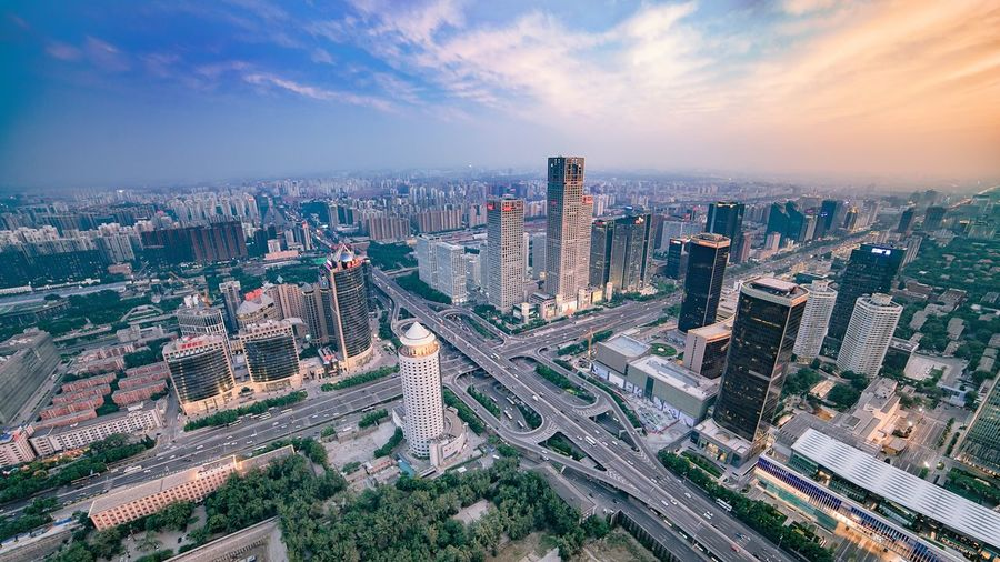 Beijing CBD Cityscape Architecture Skyscraper Building Exterior Sky Built Structure High Angle View Cloud - Sky Urban Skyline Downtown District Aerial View