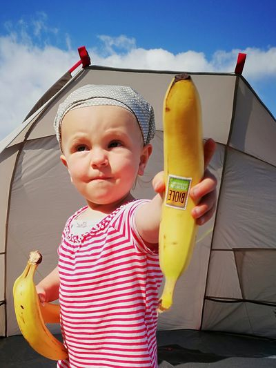 Eat more fruits... Banana Childhood HuaweiP9 Fruits Daughter Beach Shelter One Person Sky Child Outdoors Baby Summer Day People Cute Fun Smiling Cloud - Sky Happiness Babies Only Beach Portrait Vacations Real People Water