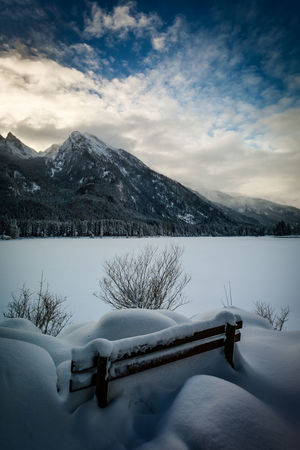 Have a break Mountain Snow Lake Mountain Range Landscape Scenics Cold Temperature Winter Cloud - Sky Nature Beauty In Nature Tranquil Scene Outdoors No People Ice Hintersee Hintersee Bei Ramsau, Bayern Hanging Out Taking Photos Fuji Fujifilm_xseries Travel Fujifilm Mystical Atmosphere Journey