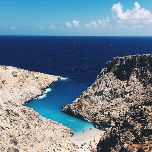 Sea Horizon Over Water Water Scenics Beauty In Nature Nature Tranquil Scene Sky Tranquility Idyllic Blue Outdoors Rock - Object High Angle View No People Day Cloud - Sky Sunlight Landscape Chania Greece Crete Seitan