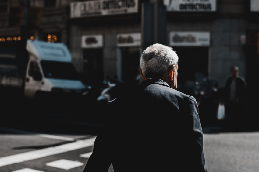 Senior Adult Rear View One Man Only Adults Only One Senior Man Only Waist Up Street Senior Men Businessman Suit Adult Well-dressed Business People Gray Hair Outdoors Real People Cinematography Scenics Portrait Of A City Barcelona Street Photography Welcome To Black Cinematic Photography Film Noir Long Goodbye The Street Photographer - 2017 EyeEm Awards