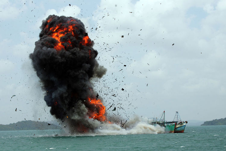 Fire On Ship In Sea
