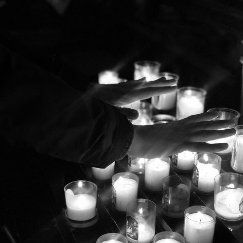 Blackandwhite Kris Demey Photography Candle Flame Human Hand One Person Indoors  Burning Human Body Part Close-up Night Illuminated People