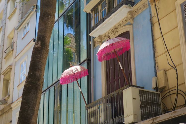 summering Architecture Balcony Building Exterior Built Structure City Day No People Outdoors Palm Tree Parasols Sky Sommergefühle Summertime Feelings Window