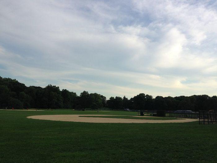 Playing Baseball Field Park Summer Sports