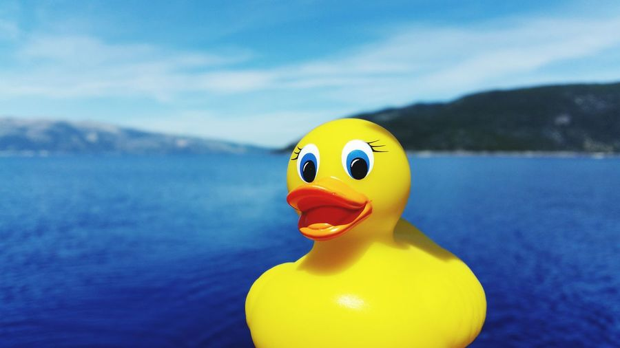 Close-up of rubber duck against blue river on sunny day