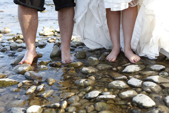 Barefoot Barefoot At The Beach Bride Bride And Groom Groom Marry Together Togetherness Water Wedding Wedding Photography