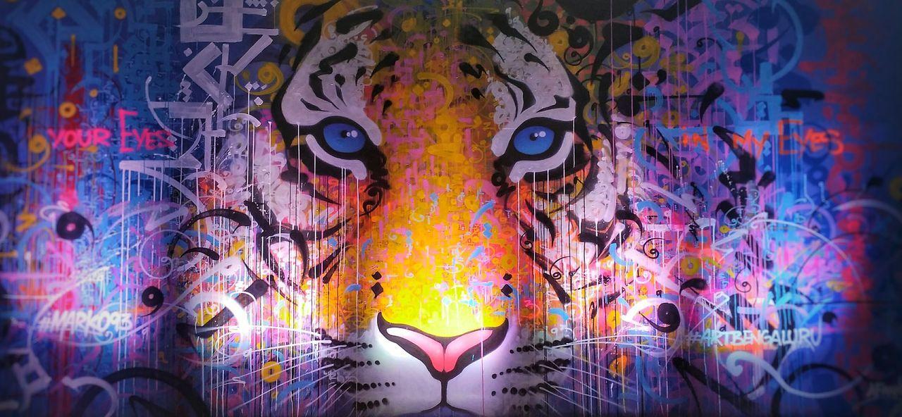 Tigereyes Tiger Face Tiger-love Outdoors Paint Art And Craft Multi Colored No People EyeEm Diversity EyeEm Nature Lover EyeEm Gallery Eyeemphotography Wallpaint EyeEm Best Shots - Nature EyeEmNewHere