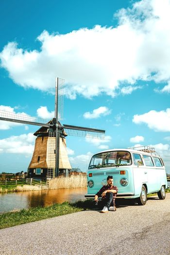 Netherlands Holland Dutch Man Men Colourful VW Oldtimer Van Camper Volkswagen Van Rural Scene Sky Cloud - Sky Windmill Traditional Windmill Wind Turbine Alternative Energy Turbine Land Vehicle Parking Vintage Car Vehicle Mill