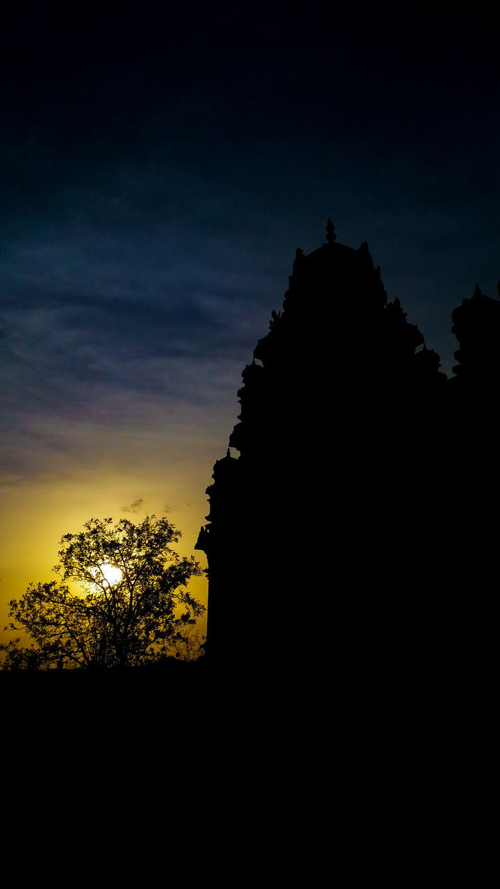 silhouette, sunset, tree, sky, no people, nature, religion, outdoors, tranquility, beauty in nature, scenics, place of worship, built structure, low angle view, architecture, building exterior, day