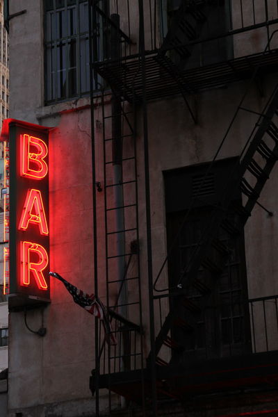 Architecture Bar Bar Sign Building City Fire Escape Fire Escapes Low Angle View Neon Neon Lights Neon Sign New York New York City No People Urban Vertical