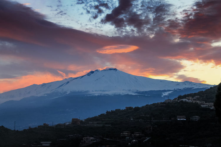 Catania Mountain Sky Snow Scenics - Nature Beauty In Nature Cold Temperature Winter Cloud - Sky Sunset Snowcapped Mountain No People Environment Landscape Nature Tranquil Scene Tranquility Architecture Idyllic Mountain Peak Outdoors