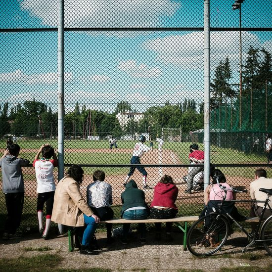Baseball Audience People Watching Watching The Game Baseball Game Baseball ⚾ Baseball Field Fence Spectators Wire Fence