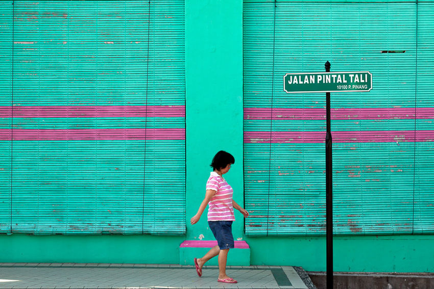 Blue Building Exterior Built Structure Casual Clothing Color Colorful Composition Green Lifestyles Malaysia Marji Lang Photography Outdoor Sripes Street Street Photography Travel Travel Photography Turquoise Walk Wall Woman