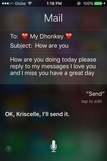 Just messing up with Siri for a change. :) SiriAndMe CrazyConversations because apparently, I got nothing to do... and I an really checking up on my Boyfriend ☺️💋