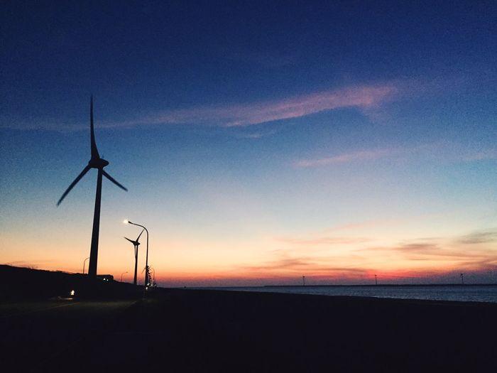 Dawn Sunset Moments Taiwan Windmill Scenery Beautiful Lukang Landscape