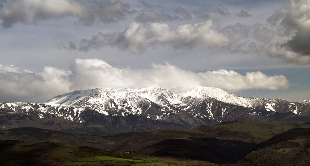 Beauty In Nature Canigou Mountain Canigó Cloud - Sky Cold Temperature Efg Landscape Mountain Mountain Range Nature Pirineos Sky Snow Snowcapped Mountain Tranquil Scene Tranquility Winter Landscape With Whitewall