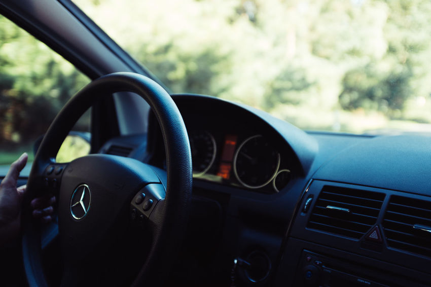 Road Trip Car Car Interior Close-up Control Panel Dashboard Day Focus On Foreground Glass - Material Indoors  Land Vehicle Luxury Mode Of Transportation Motor Vehicle No People Road Trip Speedometer Steering Wheel Transparent Transportation Vehicle Interior Windshield X100f