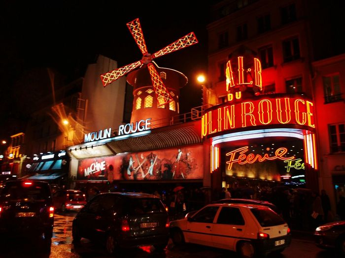 Night Red Nightlife Illuminated Paris France Francia Moulin Rouge Cabaret Burlesque Molino Rojo Cancan Molino Club Night Leisure Activity Travel Destinations Love Passion Artist