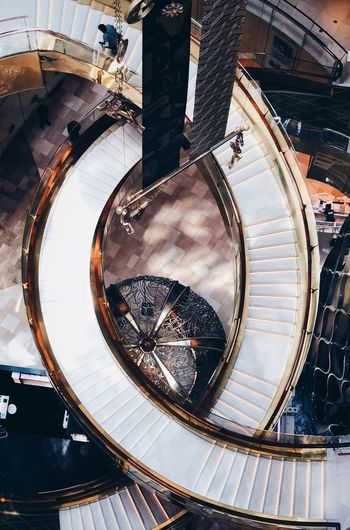 EyeEmNewHere ınteriors Built Structure Architecture High Angle View Indoors  Steps And Staircases Spiral The Architect - 2018 EyeEm Awards Day Staircase Railing Shape Spiral Staircase Circle Transportation Directly Above Geometric Shape Pattern Sunlight