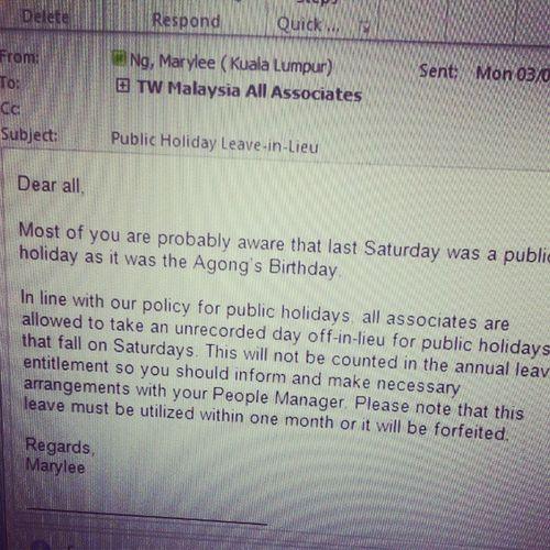 A day off in lieu of Agong's bday. Happy belated bday Agong. (or hari keputeraan? wtv) hehe Agong Birthday Offday