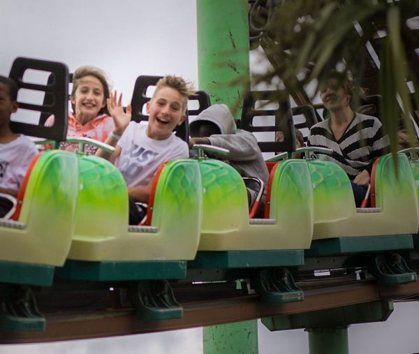 Having fun on the green scream. Adventure Island. Southend Fun Enjoyment People Leisure Activity Togetherness Cheerful Smiling Friendship Lifestyles Day Headshot Excitement Sitting Canon5dmarkiv Liveforthestory Outdoors BestEdits Canonphotography Canon Southend Southend On Sea Smiling Thrill Rides Rollercoaster Siblings ♡