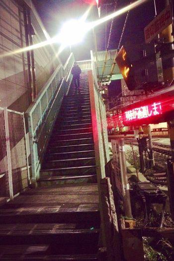 Railway crossing Tokyo Street Streetphotography Railway Railtrack Train Night Nightphotography Stairs Flare Lights Darkness Japan Fumikiri