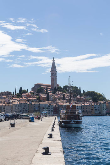 Rovinj, Croatia... Church City Cityscape Croatia Holiday Rovinj Rovinj Croatia Rovinj, Croatia Travel Architecture Building Building Exterior Built Structure City Cityscape Croatian City Croatian Town Nautical Vessel Passenger Craft Place Of Worship Religion Sailboat Spire  Travel Destinations Water