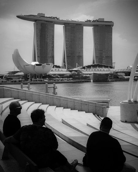 Sightseeing isn't easy EyeEm Singapore Blackandwhite Monochrome Black And White Photography MonochromePhotography Leica Photography EyeEm Gallery Photography LEICA M Architecture Water Built Structure Group Of People Bridge Transportation Nature Travel Destinations Day Tourism Sky Real People Travel Looking At View