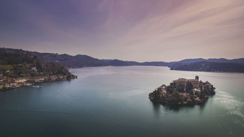Drone  Drone Shot Lake Orta  Cloud - Sky Drone Photography Idyllic Island Lake Island Nature No People Scenics - Nature Sky Tranquil Scene Tranquility Water Waterfront