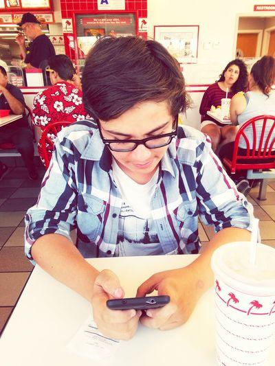Boywonder Highschool Inandoutburgers Ignoring Me :c Enjoying Life MySON♥ MYeverything he's addicted to his phone lol