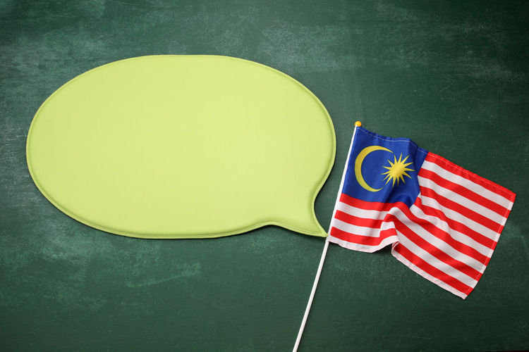 malaysia flag with speech bubble Country Nature Patriotic Patriotism Proud Red Blackboard  Chalkboard Crescent Flag Green Color Infomation Malaysia Flag Message Multi Colored No People Speech Bubbles, Star Talking White Yellow