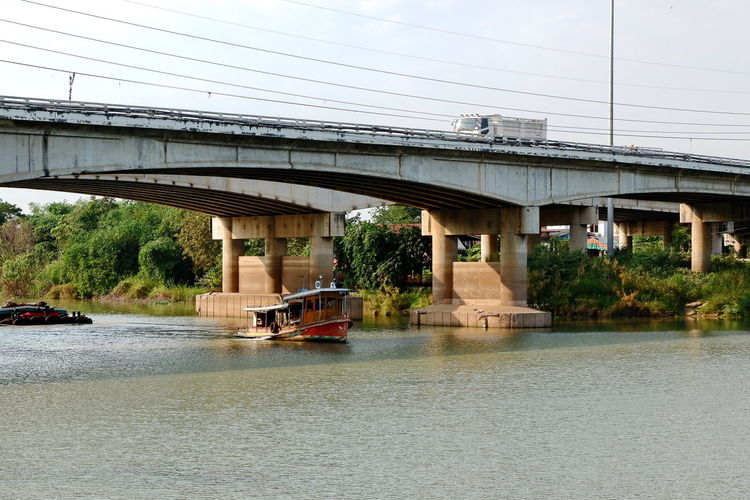 Built Structure Bridge Architecture Connection Bridge - Man Made Structure Water Transportation Sky River Waterfront Outdoors Boat