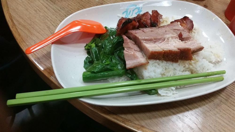 Asian Food Close-up Day Food Food And Drink Freshness Healthy Eating HKFood Homemade HongKong Indoors  Meat No People Plate Ready-to-eat Table ข้าวหมูกรอบ