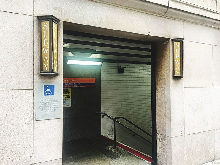 Door Built Structure Architecture Entrance Building Exterior Communication No People Day Outdoors Wheelchair Subway Subway Station Subway Sign