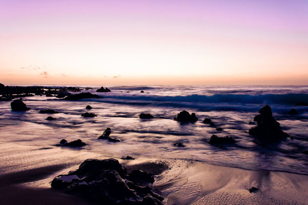 Beach Coastline Geology Getting Away From It All Horizon Over Water Light Morning Ocean Outdoors Physical Geography Purple Rock Sand Scenics Sea Seascape Seashore Shore Sunrise Sunset Surf Vacations Voyage Water Wave