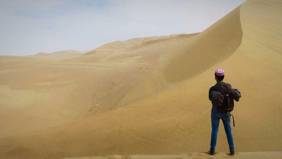 Rear view of man standing in desert
