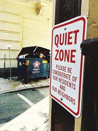 Quiet Places Metal Sign Garbage