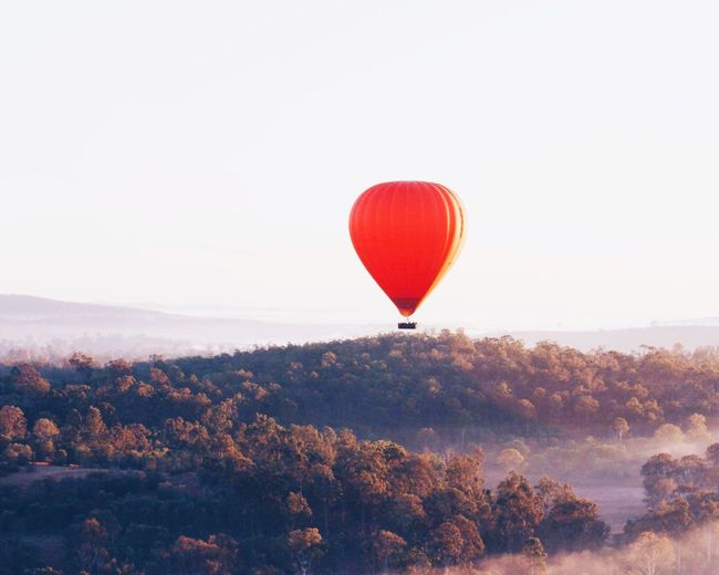 Hot air balloon flying over trees against clear sky
