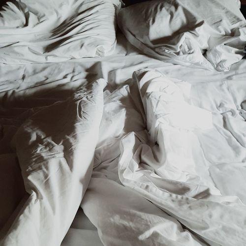 Full frame shot of messy bed
