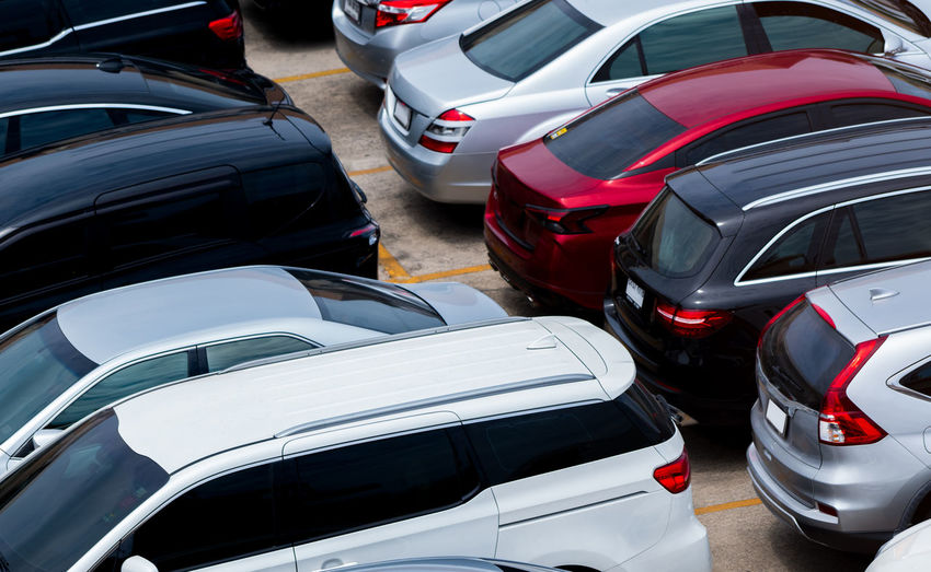 High angle view of cars for sale