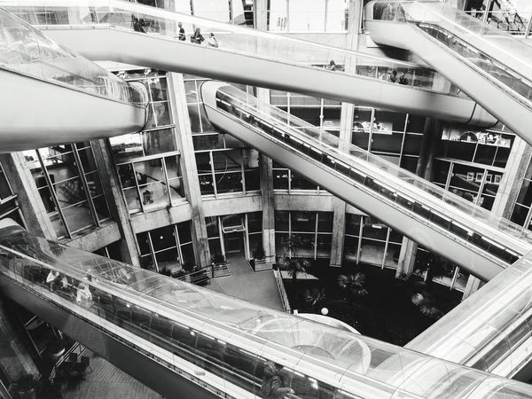 In The Terminal Paris - Charles de Gaulle Escalator Black And White Architecture Airport Tunnels Amazing Architecture Futuristic Modern World The Architect - 2015 EyeEm Awards Monochrome Photography