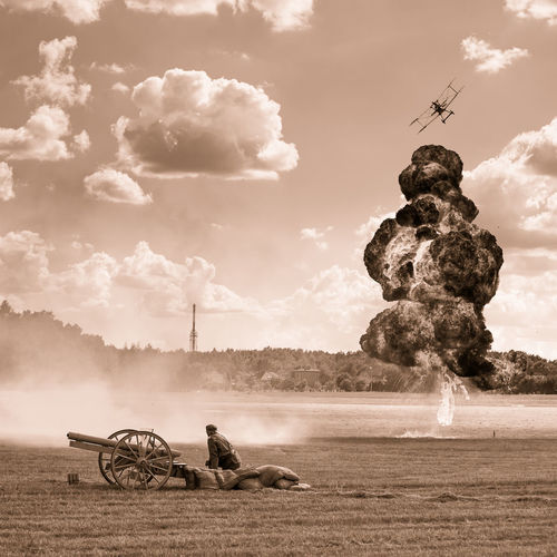 Air Show Battel Bomber Cloud - Sky Explosion First World War Historical Reconstruction Historical Reenactment History Period Costume Sepia Sky