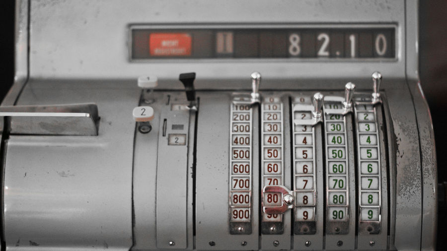 Old Register Close-up Colorkey Control Panel Indoors  Machinery Metal No People Number Register Technology Text
