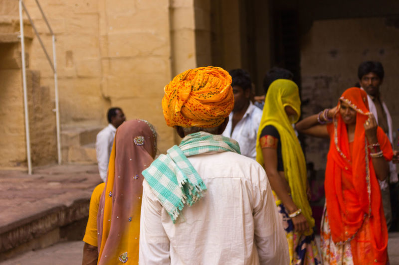Rear view of people at temple