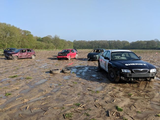 Banger Racing Cop Car Law Enforcers Muddy 4x4 Sand Car Off-road Vehicle Land Vehicle Sky Farmland Cultivated Land