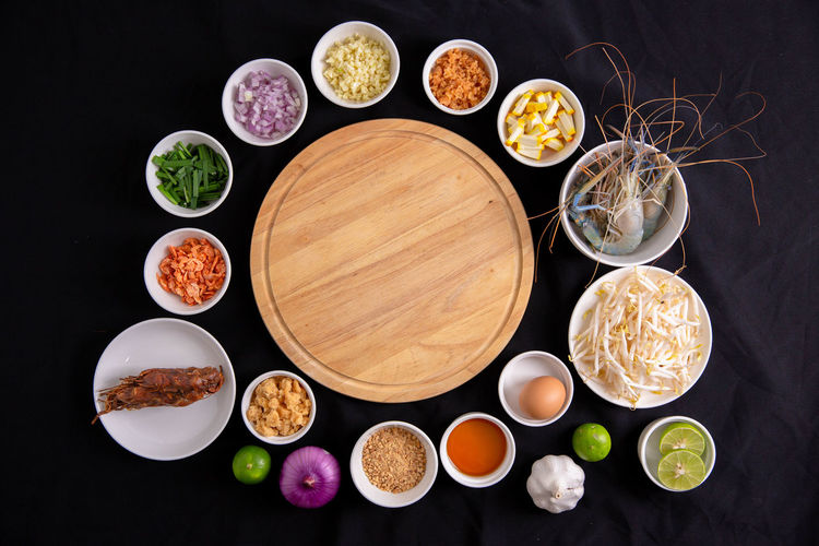 High angle view of various food on table