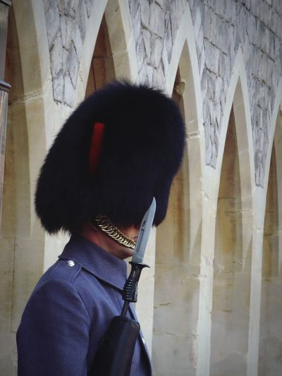 Built Structure One Person Standing Architecture Real People Headshot Windsor Castle Guard Guards Guarding Discipline Building Exterior Lifestyles Men Outdoors Day Close-up People